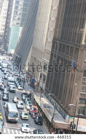 Downtown Chicago busy street - stock photo