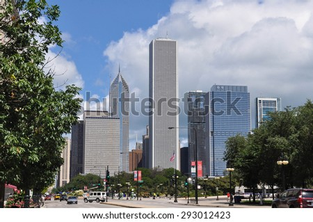 Downtown Chicago, Illinois Chicago,Illinois,USA - August 13, 2013 : View of the skyscrapers in Michigan Avenue - stock photo