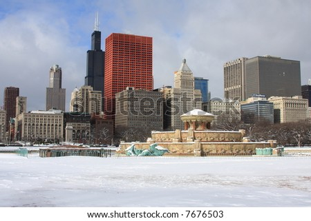 Downtown Chicago just after snow - stock photo