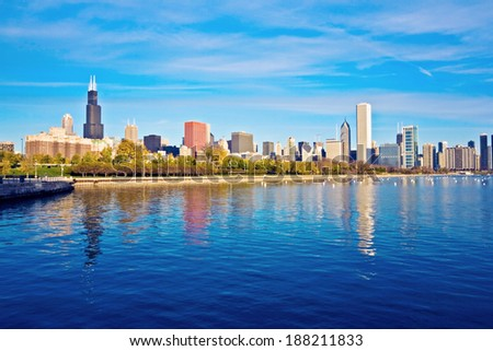 Downtown Chicago panorama reflected in Lake Michigan - stock photo