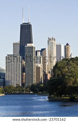Downtown Chicago seen from Lincoln Park - stock photo