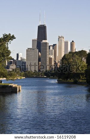 Downtown Chicago seen from north. - stock photo