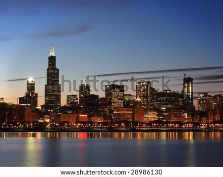 Downtown Chicago Skyline, Illinois - stock photo