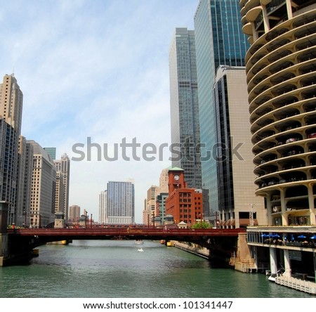 Downtown Chicago Waterfront and High Rise Buildings, Illinois USA - stock photo