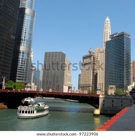 Downtown Chicago Waterfront, Illinois USA - stock photo