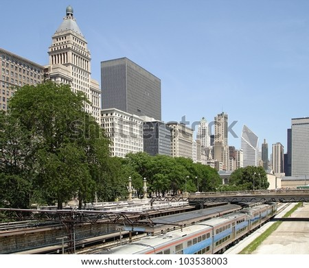 Downtown Chicago with a downtown train station to transport thousands of commuters every day. - stock photo