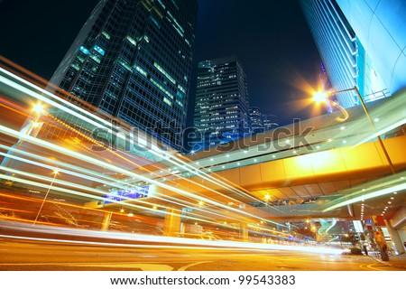 downtown city night - stock photo