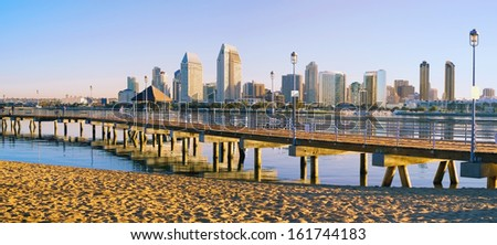 Downtown City of San Diego, California Morning Cityscape Panorama  - stock photo