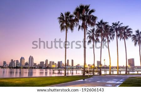 Downtown City of San Diego, California USA at Dawn - stock photo
