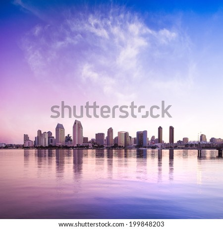Downtown City of San Diego, California USA at Dawn - stock photo