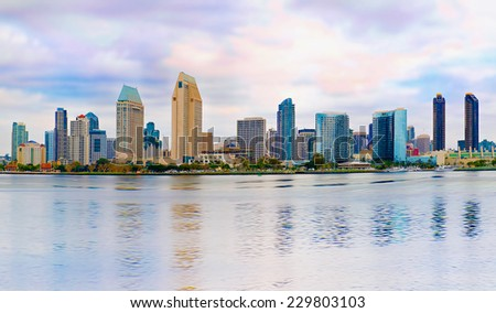 Downtown City of San Diego California USA, Cityscape Panorama with Reflection  - stock photo