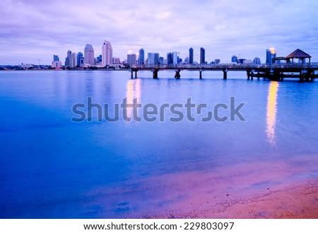 Downtown City View at Dawn from Coronado Island of San Diego, California, USA - stock photo