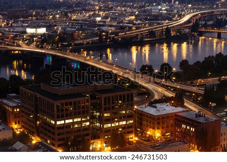 Downtown city view in Portland, Oregon. - stock photo