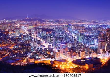 Downtown cityscape of Seoul, South Korea - stock photo
