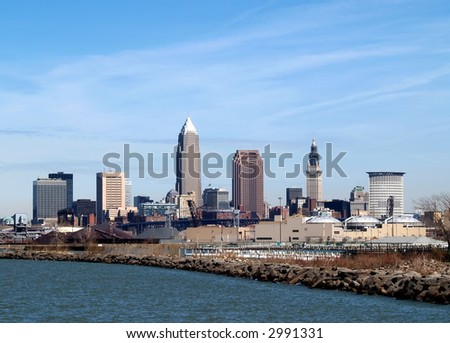 Downtown Cleveland Skyline from a waterfront park - stock photo