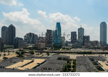 Downtown Dallas skyline in Texas, USA. - stock photo