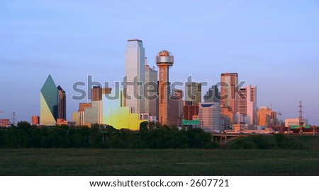 Downtown Dallas, Texas at dusk. - stock photo
