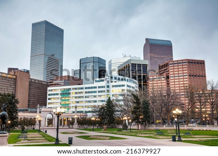 Downtown Denver cityscape in the evening - stock photo