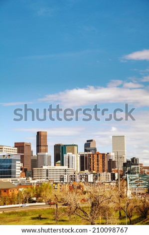 Downtown Denver cityscape on a sunny day - stock photo