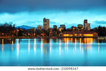 Downtown Denver, Colorado at the morning as seen from City Park - stock photo