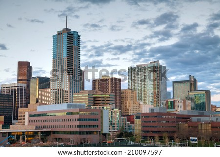 Downtown Denver, Colorado at the night time - stock photo