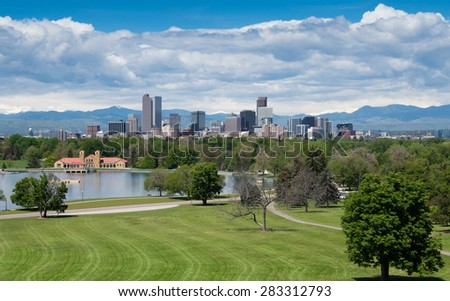 Downtown Denver, Colorado, the Mile High City, from City Park. Aerial. - stock photo