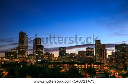 Downtown Denver Skyline at Dusk - stock photo