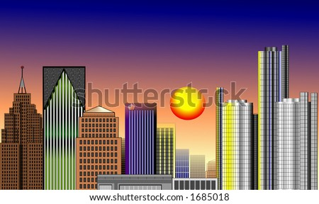 DOWNTOWN DETROIT - stock photo