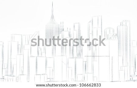 downtown district sketch isolated on white background - stock photo