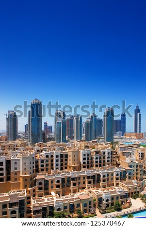 DOWNTOWN DUBAI, UAE - MAY 7 - Downtown Dubai is a popular and expensive real estate neighborhood. Picture taken on May 7, 2010. - stock photo