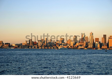 Downtown during a sunset - stock photo