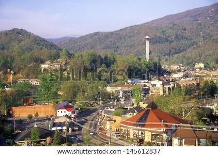 Downtown Gatlinburg, TN in the Smokey Mountain National Park in springtime - stock photo