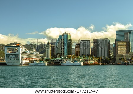 Downtown Honolulu and Honolulu Harbor on Oahu, Hawaii - stock photo