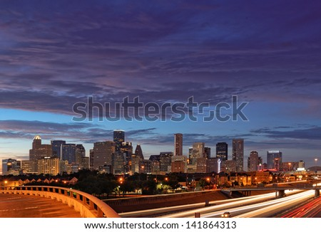 Downtown Houston from Chenevert and 288 - stock photo