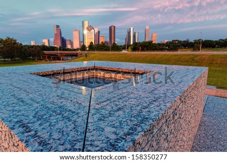 Downtown Houston from the Police Memorial - stock photo