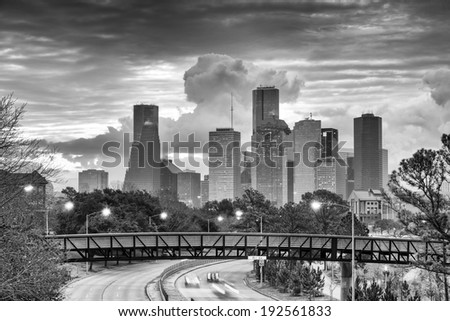 Downtown Houston Skyline in Black and White - stock photo