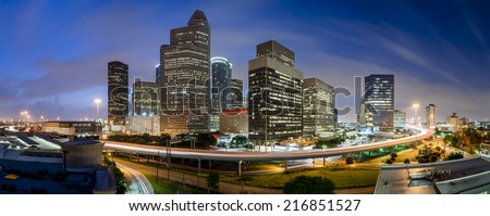 Downtown Houston sunrise. A panorama taken on a humid morning in Houston - stock photo