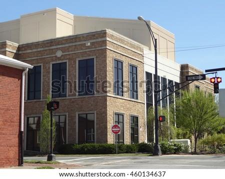 Downtown Intersection in Winston-Salem, North Carolina. - stock photo