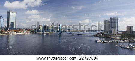 downtown Jacksonville panoramic showing both the North and South Bank of the St. John's river - stock photo