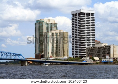 Downtown Jacksonville South Bank, along the St Johns River - stock photo