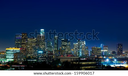 Downtown LA night Los Angeles sunset colorful skyline California - stock photo
