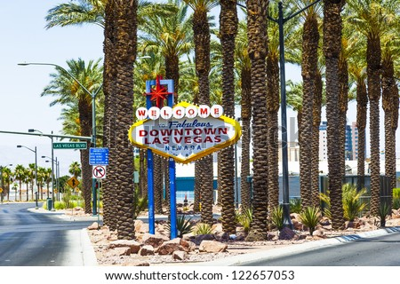 Downtown Las Vegas welcome sign at the strip - stock photo