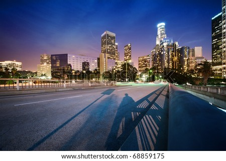 Downtown Los Angeles at night - stock photo