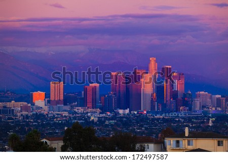 Downtown Los Angeles at sunset. - stock photo