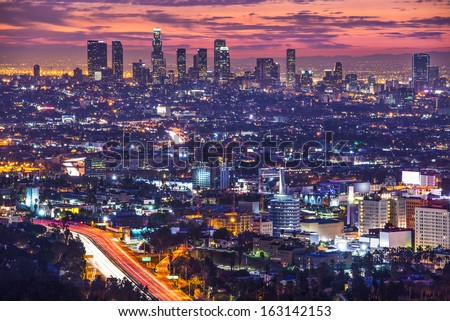 Downtown Los Angeles, California, USA skyline at dawn. - stock photo