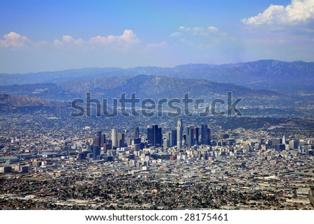 Downtown Los Angeles city buildings - stock photo