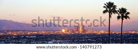Downtown Los Angeles, Sunset, California - stock photo