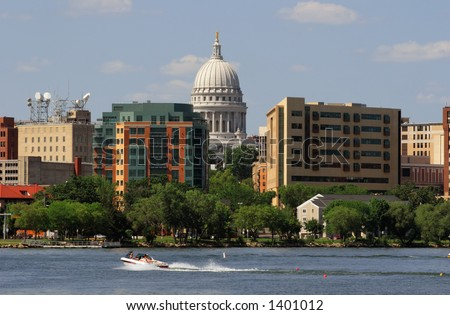 Downtown Madison Wisconsin from Lake Monona - stock photo