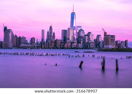 Downtown Manhattan during Sunset - stock photo