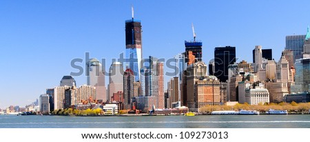 Downtown Manhattan & Freedom Tower, New York - stock photo